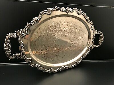 "Vintage 21"" x 13"" Footed Silver on Copper Serving Tray Signed CSW Clean VGC"