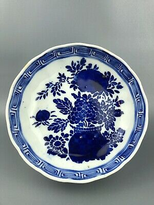 Antique Old Blue White Chinese Bowl Peppered Foundry Faults Rust Floral Design
