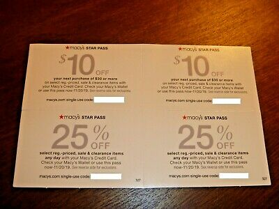 Lot Of 4 - Macy's Star Pass Rewards Coupons - $10 Off $30 - 25% Off - Exp 11/19