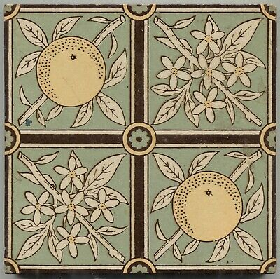 Nicely Restrained Antique Victorian English Tile Mintons Oranges & Blossoms?
