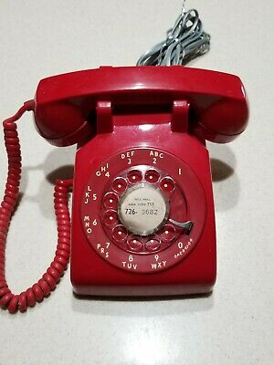 Telephone ITT  Rotary Dial Red Desk Top Phone Vintage 70's