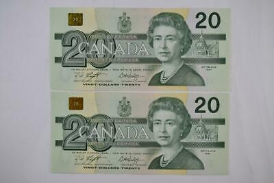 Lot of Two 1991 Bank of Canada $20 Sequenced Notes EWV 6386299-300 Ungraded