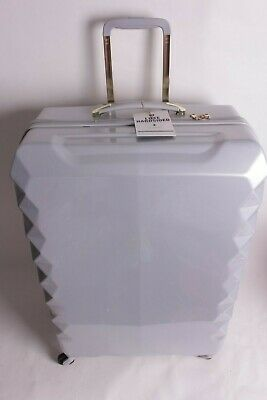 """Pottery Barn PB Teen Luxe Hard sided Gray Checked 28"""" Spinner Luggage suitcase"""