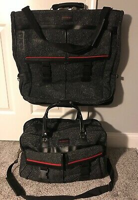 Givenchy 2 Piece Vintage Luggage Set in Carbon Gray Tweed Carry On / Garment Bag