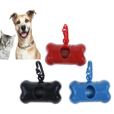 Poo Bags Pet Dog Cat Waste Disposal Bag Dispenser Poop Carrier Holder Bone C~XG