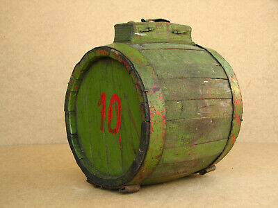 Old Antique Primitive Wooden Military Army Barrel Keg Vessel Canteen Cask Pail