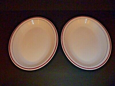Vintage Homer Laughlin China Fiesta Ware - Lot Of 2 Oval White Platters Trimmed