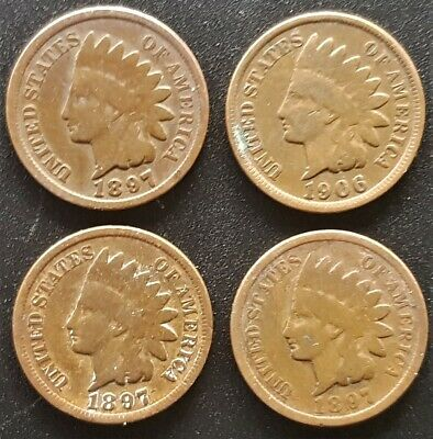 0.01 cent Indian Head USA coins (4 in total - circulated) various dates
