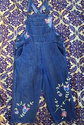Vintage 90s 3/4 Denim Dark Wash Overalls Dungarees Butterly Embroidery Size 12