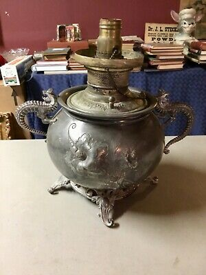 RARE Antique Meriden Silver Plate Co. Electrified Oil Lamp Ornate Dragon Handles