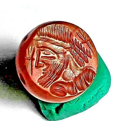 Authentic Original Meso Carnelian Agate Intaglio Arab King Full Outift Seal Bead