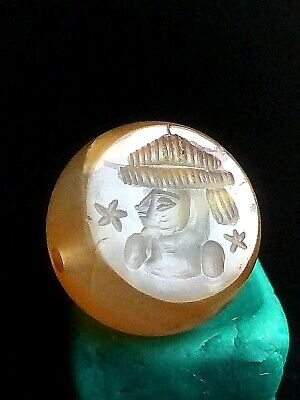 Authentic Original Meso Ancient Agate Intaglio Arab King Full Outift Seal Bead