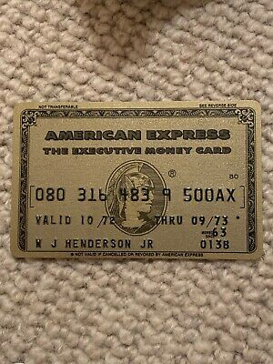 Vintage Rare American Express Executive Money Card 1972-1973 Valid One Year