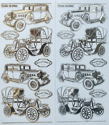 Double Embossed Clear OLD TIME CARS Vehicles PEEL OFF STICKERS