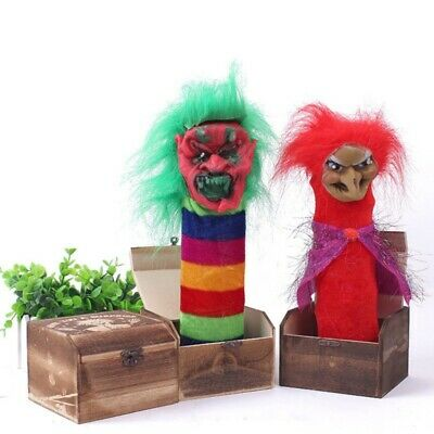 Halloween Props Wooden Scary Box Funny Horror Electric Voice Activated Joke Toy.