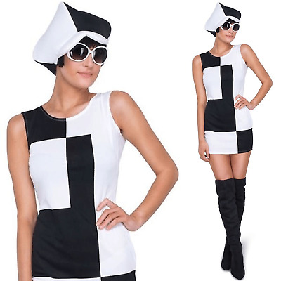 Adults Ladies 60s 70s MOD Go Go Girl Monochrome Fancy Dress Costume Outfit