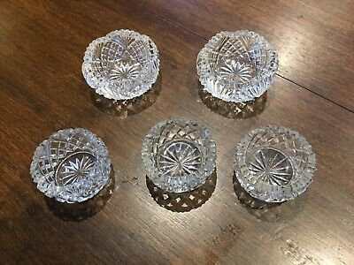 Five Antique Cut Glass Salt Cellars, 3 small and 2 slightly larger
