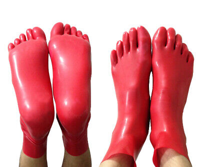 Hot Sale Latex 100% Rubber Gummi Toes Ankle Socken Red Wetlook Unisex SizeS-XXL