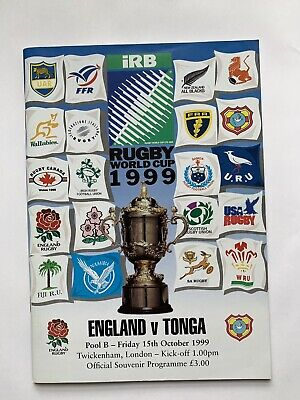 1999 rugby world cup programme England V Tonga 15 October 1999