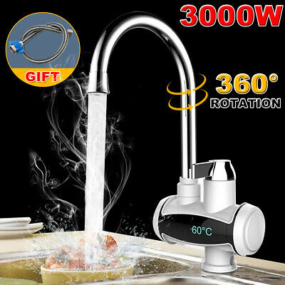360° Electric Heater LED Display Faucet Tap Instant Hot Water Bathroom Kitchen