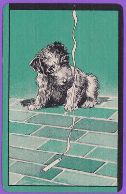 1 Single VINTAGE Swap/Playing Card CIGARETTE TERRIER PUP DOG 'SMOKY DT-8-54