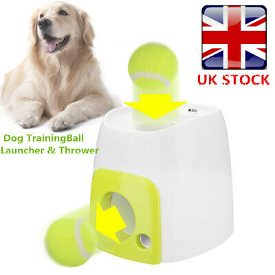 Pet Dog Automatic Ball Thrower Tennis Fetch Roller Hyper Outdoor Training Toy UK