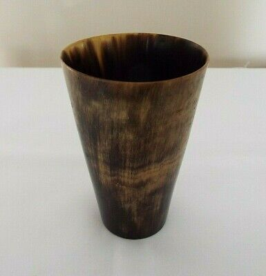 "Antique Polished Turned Cow's Horn 4"" Beaker"