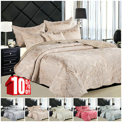 Luxury 3 Piece Satin Quilted Bedspread Double & King Size Floral Bed Throw
