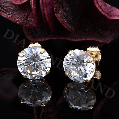 4CT Created Diamond Earrings 14K Real Yellow Gold Round Cut Solitaire Studs