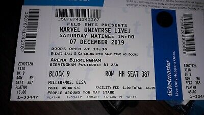 Two Tickets For Marvel Universe Live. 7th December ,arena Birmingham