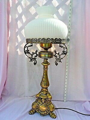 Antique Victorian Cast Brass Gas Table Lamp Rewired & Converted To Electric Gwo