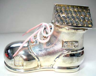 "Beautiful Silver Plated Piggy Bank ""Old Woman Who Lived in a Shoe"" 5"" W x 4""H"