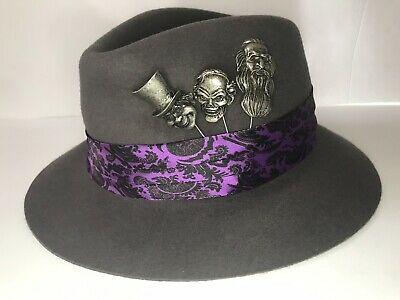 NEW Haunted Mansion Fedora Ghost Hat Authentic Disney Parks Adult Halloween