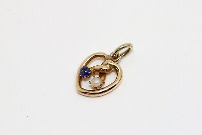An Antique Victorian 9ct 375 Gold Sapphire & Natural Pearl Heart Lovers Pendant