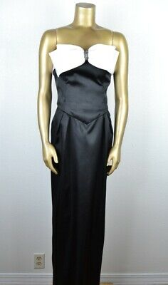 VINTAGE 80's S Tuxedo Style Satin Gown White Rhinestone Bow Black Dress
