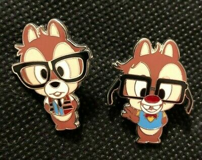 lot of 2 disney trading pins chip dale glasses nerds college students school