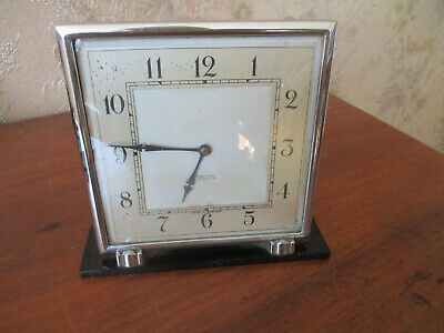 Vintage Smiths 1930S Art Deco Wind-Up CHROME/BAKELITE Mantel Clock.