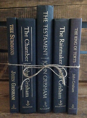 BLACK + GOLD Farmhouse Decor Stack VINTAGE Shabby Chic BOOK LOT John Grisham