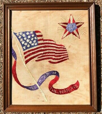 """Vintage Hand Embroidered American US Flag & Banners Undated Antique 14"""" x 17"""""""