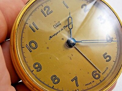 Antique Vintage French Carat Watch Co travel alarm desk clock 7 rubis for repair
