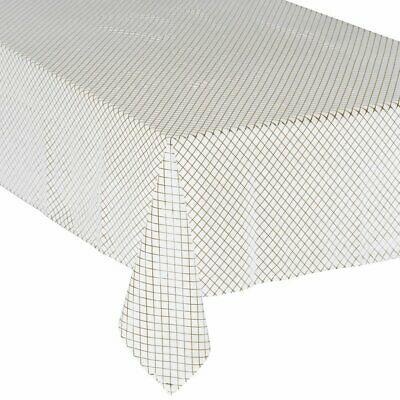 Tablecloth, geometric lines, white and gold, 140 x 360 Midnight