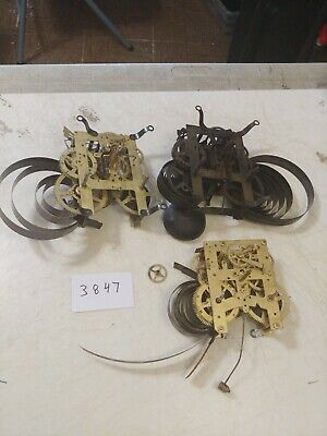 3 Antique Clock Movements For Parts  2 Ingraham - 1 New Haven