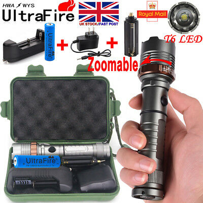 Tactical LED Flashlight 90000LM Rechargeable Hiking T6 Torch + 18650 +Charger UK