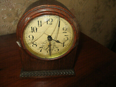 antique victorian INLAID MAHOGANY MANTEL CLOCK/poss FRENCH MOVEMENT