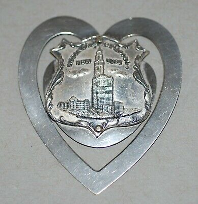 Vintage Woolworth Building Souvenir Metal Heart-Shaped Bookmark Page Marker