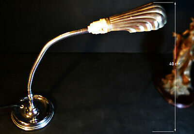1920 GEC industrial L/E art deco chrome plated flexi stem lamp clam shell shade