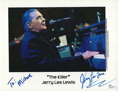 JERRY LEE LEWIS HAND SIGNED 8x11 COLOR PHOTO    THE KILLER     TO MICHAEL    JSA