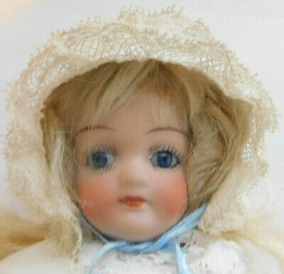 Antique bisque head doll marked 123 possibly Kling-9 inch (23cm) Pretty clothes!