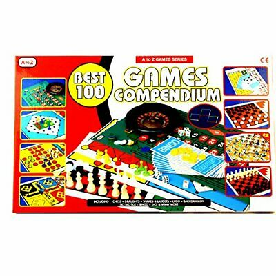 Best 100 Compendium Family Board Games Set Ludo Snakes & Ladder Draughts Chess