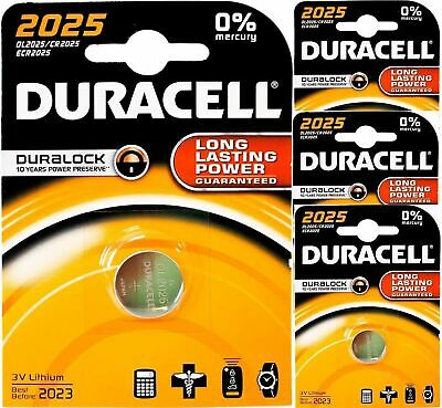 4 x DURACELL CR2025 DURALOCK 3V LITHIUM COIN CELL BATTERIES DL2025 EXPIRY 2023